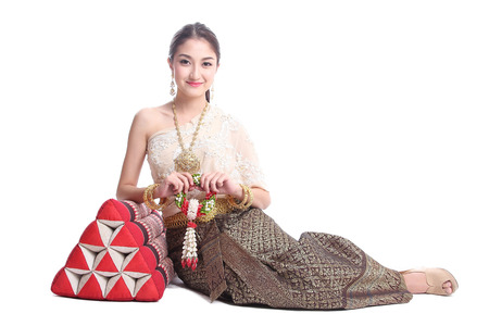 Thai women  with traditional Thai suit in Studio