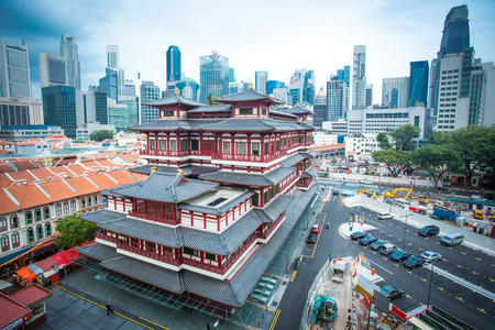 toothe: CHINA TOWN ,SINGAPORE ;March 16 ,2015: Buddha Toothe Relic Temple ,China Town area in Singapore where Chinese people come to do activity together in this area.