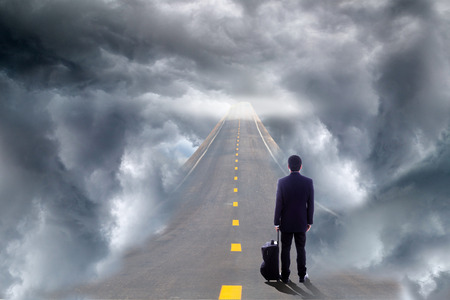 way to freedom: Road and sky way for your freedom and creative with your artwork. Stock Photo