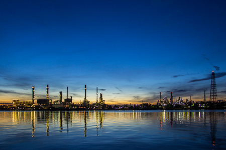 industry: Oil refinery factory in the morning.