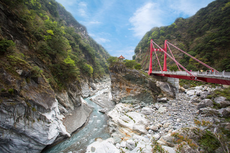 Red bridge in Taroko National Park Taiwan
