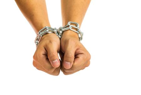 confine: Prisoner was locked by chain with white background.