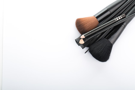 cosmeticos: Arbusto determinado del cosmético para el maquillaje de su cara sobre fondo blanco.