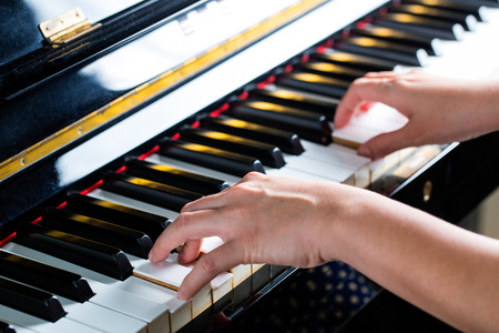 side keys: Piano keys ,side view of instrument musical tool. Stock Photo
