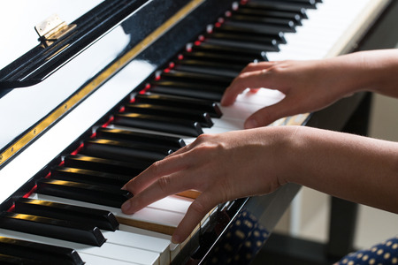 piano closeup: Piano keys ,side view of instrument musical tool. Stock Photo