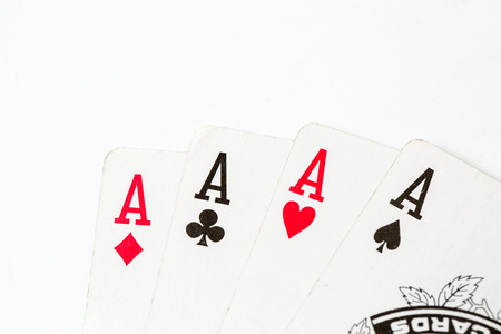 aces: Poker of aces over isolated on  white backgorund