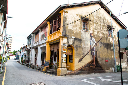 interactive: GEORGE TOWN,PENANG ,MALAYSIA- CIRCA March 26, 2015: Public Fisherman oil painting on the wall color in Georgetown, Penang, Malaysia. Editorial