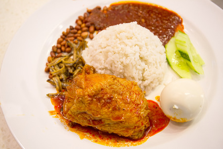 malaysian people: Nasi lemak food of Malaysian people Stock Photo