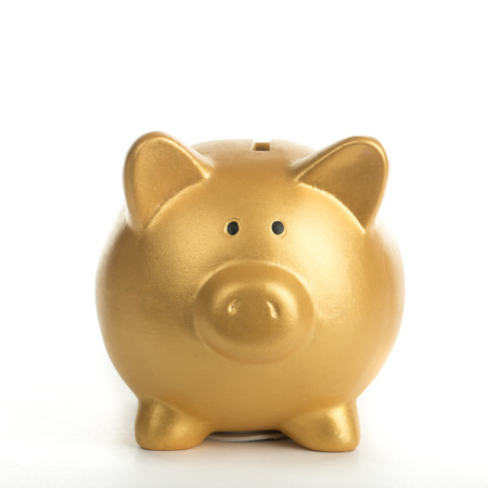 Piggy bank increasing your finance growing with white background. 스톡 콘텐츠
