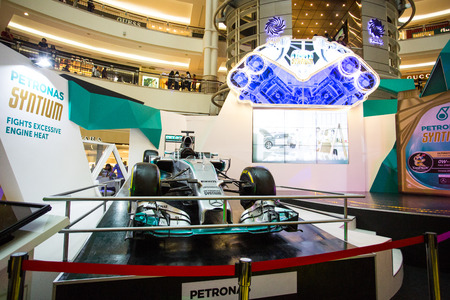 potentiality: KUALA LUMPUR ,MALAYSIA -June 24 ,2015 :Petronas syatium team F1 exhibition show potentiality of car inside Petronas Twin Towers,Fight excessive engine heat.