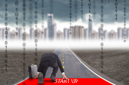 Businessman start up for challenge his business