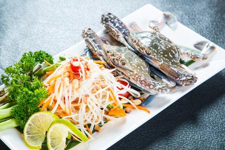 blue crab: Thai papaya salad with Blue crab Stock Photo