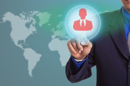 resources management: Hand touching for select people virtual interface with Human resources management concept