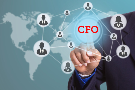 cfo: Hand touching for select CFO interface button with your finger.