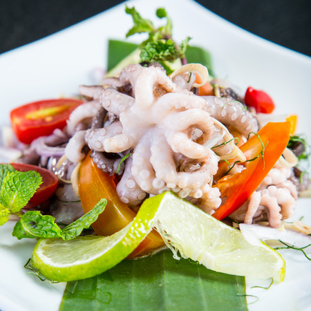 lose up: lose up Squid Salad on the white dish