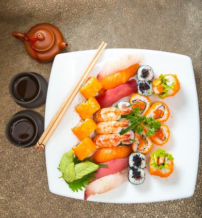 sushi: Sushi set of Japnese food with shopstick Stock Photo