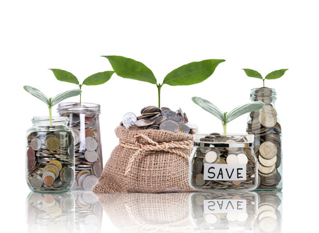 financial: Save money with money coin for growing your business Stock Photo