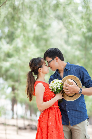 lovely couple people lifestyle romance in the garden. photo