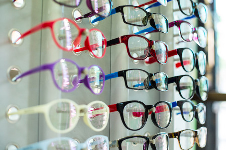 Glasses shop hang show colorful for customer select.