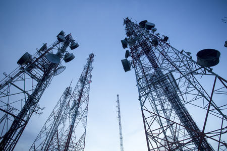 Telecommunication mast TV antennas with blue sky in the morning Stockfoto