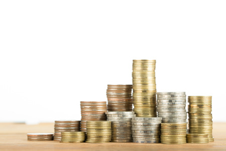 money stack: Stack coin money for save your money. Stock Photo