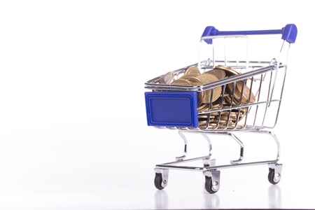 check out: Shopping cart with coin inside for check out your money
