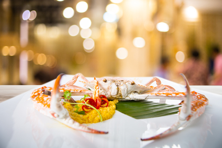 blue swimmer crab: Steamed Blue swimming crab on the white dish.     Cān  dish Stock Photo