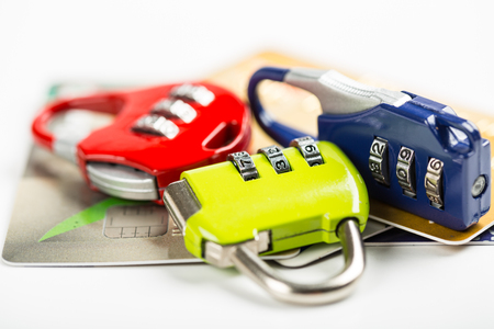 theft prevention: security credit card with locker concept. Stock Photo