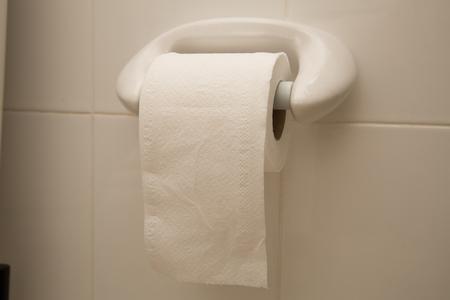 inodoro: Rollo de papel higiénico en el hogar.