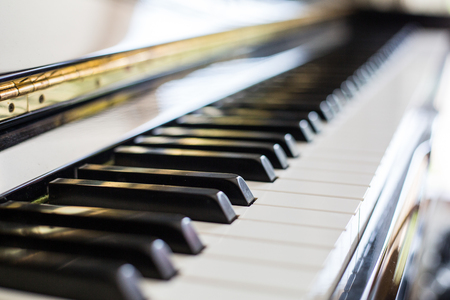 keyboard instrument: Piano keys ,side view of instrument musical tool. Stock Photo
