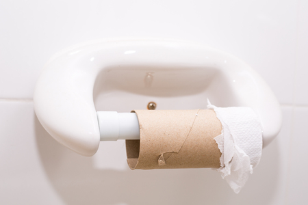 Tissue roll last bit pad paper in toilet.