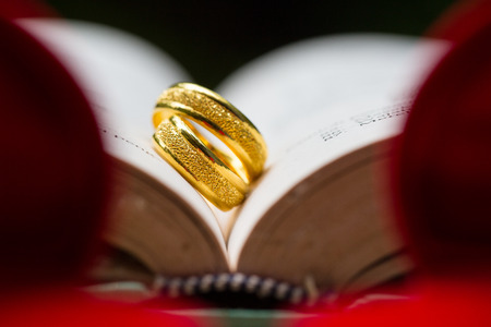 marry: Wedding rings ,jewelry for engagement and get marry. Stock Photo