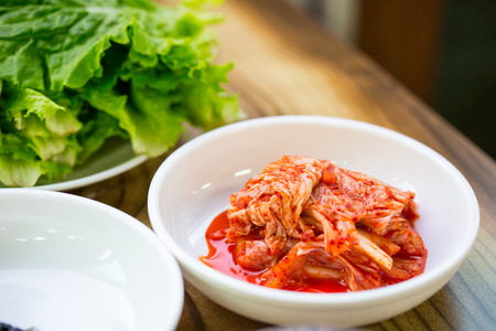 korea food: Kimchi ,korea food set in restaurant