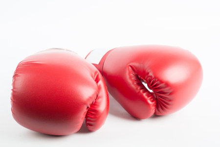 boxing ring: Boxing gloves isolated with white background.