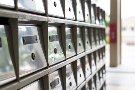 mail slot: Mail boxes postal for get your information. Stock Photo