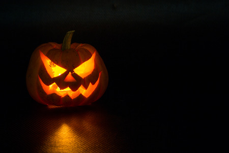 pumpkin border: Halloween pumpkins smile and scrary eyes for party night Stock Photo