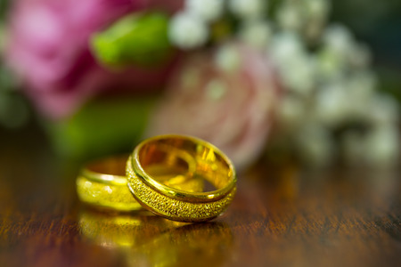 married: Wedding rings ,jewelry for engagement and get marry. Stock Photo