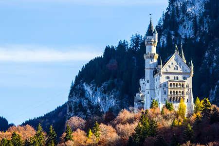 neuschwanstein: Neuschwanstein castle with blue sky in Germany. Editorial