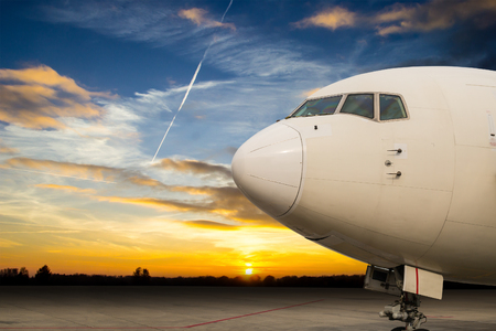 Close up airplane with twilight time