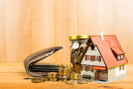 mortgage application: Mortgage loading and calculator property document concept. Stock Photo