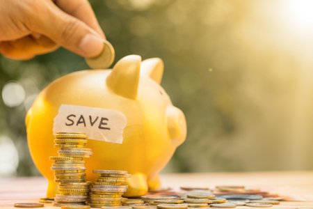 holiday profits: Save money for prepare in the future. Stock Photo