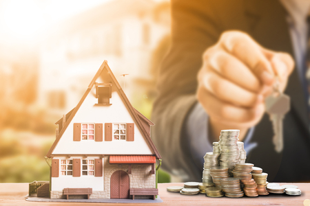 Mortgage loading and calculate property document concept. Foto de archivo