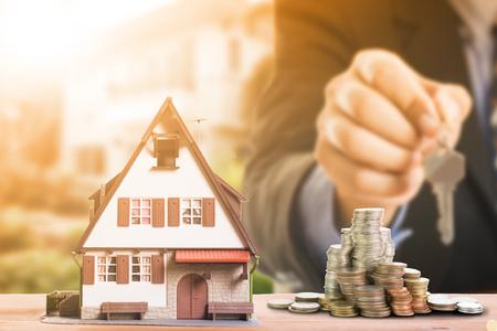 Mortgage loading and calculate property document concept. Archivio Fotografico