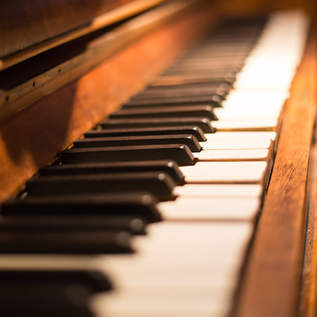 Piano keys ,side view of instrument musical tool. Archivio Fotografico