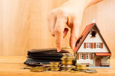 property: Mortgage loading and calculator property document concept. Stock Photo