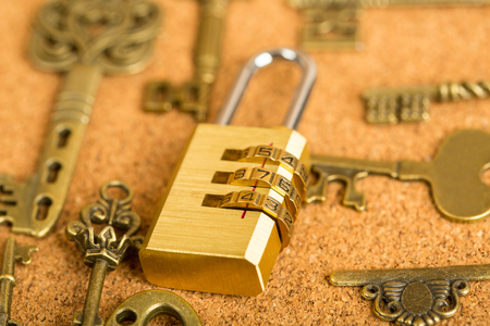 combination: Combination lock your love key on the wood board. Stock Photo