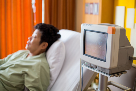 Heart monitor for patient in hospital.