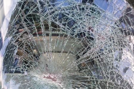 demolish: Car Broken glass from danger crash. Stock Photo