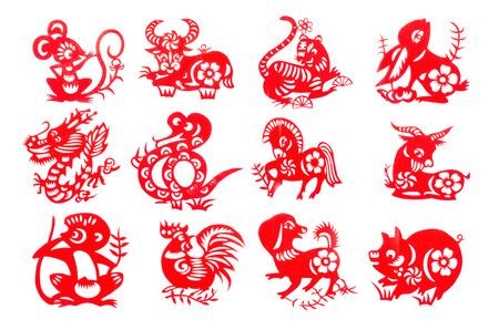 Chinese dierenriem 12 set rood papier knippen verzameling traditionele, die van de invoer uit China voor decoratie in Chinese nieuwe festival jaar.