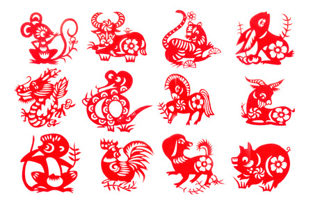 Chinese zodiac 12 set red paper cut collection traditional which import from China for decoration in Chinese new year festival .